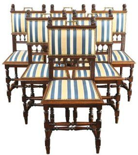6 Antique French Dining Chairs 1900 Oak Brass Lions Gold/Navy/Cream Stripe
