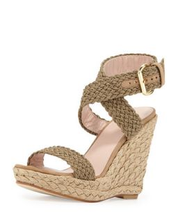 Alex Crochet Ankle Wrap Wedge, Swamp   Stuart Weitzman   Swamp (41.0B/11.0B)