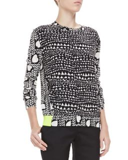 Womens Heart Print Knit Neon Band Pullover   Stella McCartney   Black/White