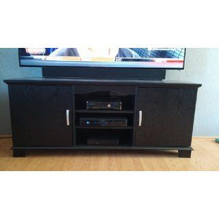 Walker Edison 60 Inch Wood TV Stand Console with Mount, Black   Home Entertainment Centers