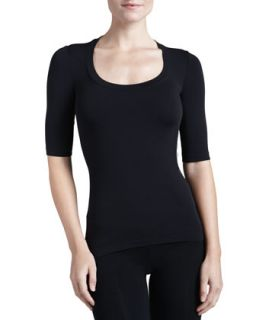 Womens Como Scoop Neck Half Sleeve Shirt   Wolford   Black (SMALL)