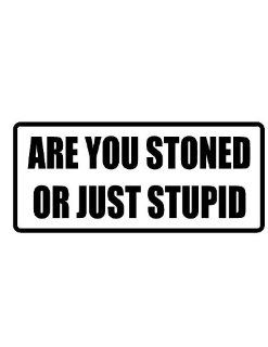 """2"""" wide helmet hard hat ARE YOU STONED OR JUST STUPID. Printed funny saying bumper sticker decal for any smooth surface such as windows bumpers laptops or any smooth surface."""