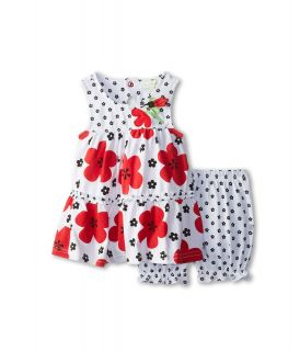 le top Love Bug Big Flower Tiered Dress Bloomer Flower Love Bug Girls Sets (Red)