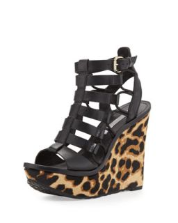 Lexington Strappy Calf Hair Wedge, Black   Diane von Furstenberg   Black (36.