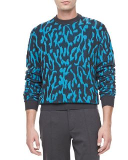 Mens Animal Jacquard Sweater, Turquoise   Lanvin   Turquoise (X LARGE)