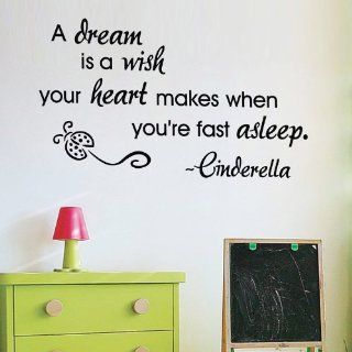 """WallStickerUSA Medium """"A dream is a wish your heart makes when you're fast asleep. ~Cinderella"""" Quote Saying Wall Sticker Decal Transfer Film 17x25  Nursery Wall Decor  Baby"""