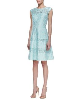 Womens Tiered Lace Cap Sleeve Cocktail Dress, Mint   Kay Unger New York   Mint