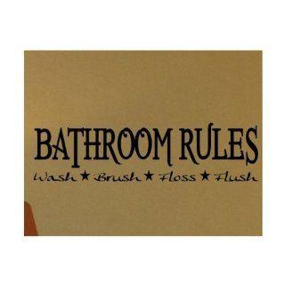 "WallStickerUSA Medium ""BATHROOM RULES Wash Brush Floss Flush "" Quote Saying Wall Sticker Decal Transfer Film 17x25  Nursery Wall Decor  Baby"