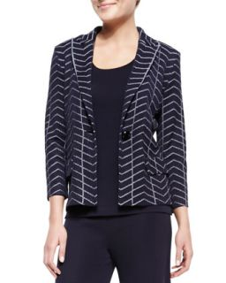 Womens Spider Web One Button Jacket, Petite   Misook   Navy/White (PL (12/14))