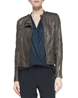 Womens Leather Moto Jacket with Quilted Band Sleeves   Vince   Carbon (LARGE)