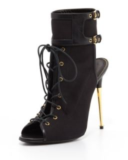 Stretch Canvas Lace Up Bootie, Black   Tom Ford   Black (38.0B/8.0B)