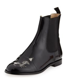 Cat Face Leather Chelsea Boot   Charlotte Olympia   Black (38.5B/8.5B)