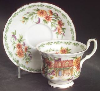 Royal Albert English Country Cottages Footed Cup & Saucer Set, Fine China Dinner