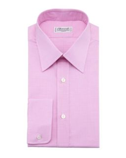 Mens Check Dress Shirt, Pink/   Charvet   Pink (44.5/17.5L)