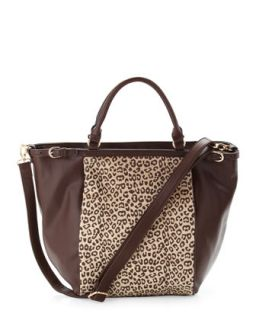 Cheetah Print Faux Calf Hair Tote Bag, Brown   Adrienne Landau