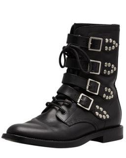 Studded Strapped Motorcycle Boot, Black   Saint Laurent   Nero (40.0B/10.0B)