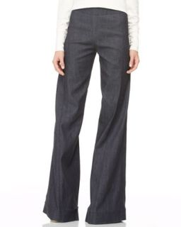 Womens High Waist Wide Leg Pants   Donna Karan   Indigo (14)
