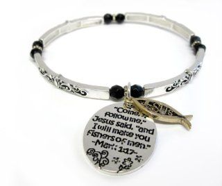 "Bible Verse and Jesus Christian Bracelet   ""Come follow me"", Jesus said, ""and I will make you fishers of men."" Mark 1:17: Jewelry"