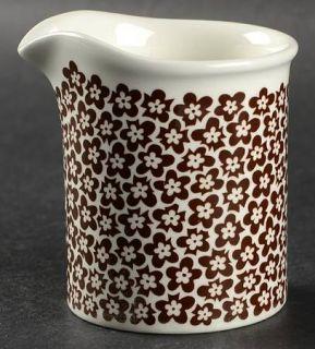 Arabia of Finland Faenza Brown Creamer, Fine China Dinnerware   Brown Flower Cen