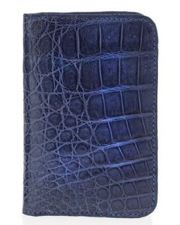 Mens Crocodile Foldover Card Case, Denim   Santiago Gonzalez   Denim