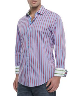 Mens Elba Striped/Checked Sport Shirt, Blue/Red   Robert Graham   Blue/Red (XX