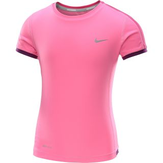 NIKE Girls Miler Short Sleeve Running T Shirt   Size: Medium, Pink/silver