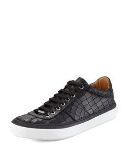Mens Portman Crocodile Embossed Sneakers, Black   Jimmy Choo   Black (41/8D)