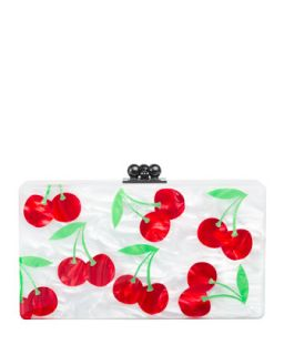 Jean Cherries Acrylic Clutch Bag, White/Red   Edie Parker