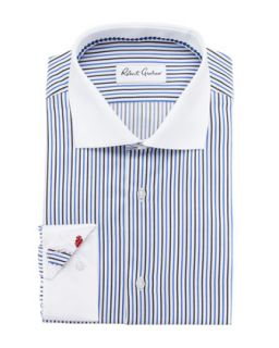 Mens Frank Striped Bankers Dress Shirt, Blue   Robert Graham   Blue (16)