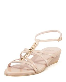 Tiffy Chain Trim Wedge Sandal, Nude   Stuart Weitzman   Adobe (38.5B/8.5B)