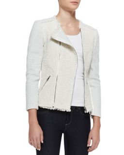 Womens Bicolor Tweed Combo Jacket   Rebecca Taylor   Celeste (8)