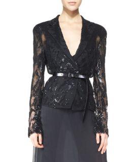 Womens Belted Long Sleeve Sequined Jacket, Black   Donna Karan   Black (4)
