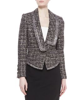 Womens Tweed Combo Jacket, Smoke   Badgley Mischka   Smoke (4)