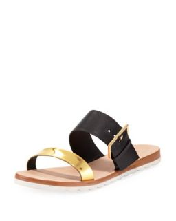attitude double strap sandal, black   kate spade new york   Black (40.0B/10.0B)