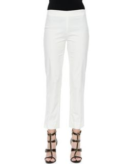 Womens Cropped Cashmere Silk Cigarette Pants   Derek Lam   White (40)