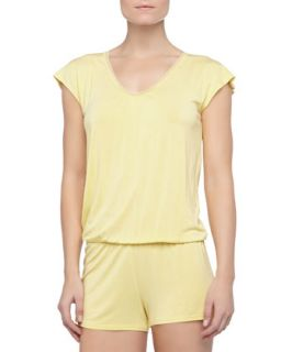 Womens Rosa Short Lace Knit Jumpsuit, Limon   La Perla   Yellow (LARGE)