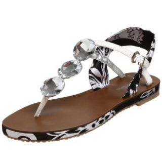 Cindy Says Women's Liberace Thong, Black/White, 7 M US: Shoes