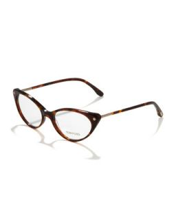 Cat Eye Fashion Glasses, Vintage Havana   Tom Ford   Vntg havna/Rse gl