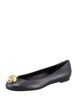 Skull Toe Ballerina Flat, Black/Golden   Alexander McQueen   Black (38.5B/8.5B)