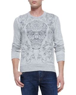 Mens Embroidered Skull Knit Sweatshirt, Gray   Alexander McQueen   Gray
