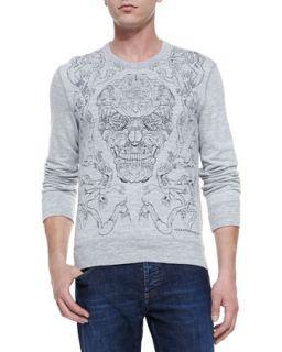 Mens Embroidered Skull Knit Sweatshirt, Gray   Alexander McQueen   Gray