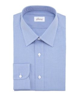 Mens Micro Check Dress Shirt, Blue   Brioni   Blue (44/17.5L)