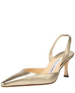 Napa Mid Heel Halter, Metallic Gold   Manolo Blahnik   Silver (35/5)