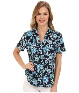 Jones New York Short Sleeve Camp Shirt Womens Short Sleeve Button Up (Blue)