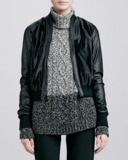 Womens Calf Hair Bomber Jacket   Vince   Black (SMALL)
