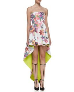 Womens Caddington Floral Print High Low Strapless Dress   Alexis   Garden