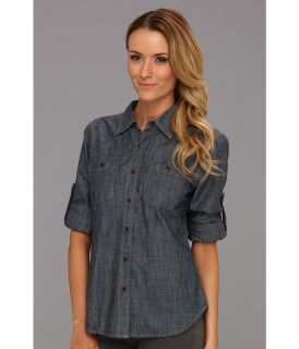 Dockers Misses The Chambray Shirt Womens Long Sleeve Button Up (Gray)