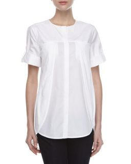 Womens Short Sleeve Overlay Cotton Shirt   Halston Heritage   White (2)