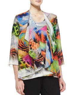 Butterfly Printed Draped Jacket, Womens   Caroline Rose   Multi/Black (2X