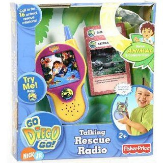Fisher Price Go Diego Go Talking Rescue Radio says phrases in English and Spanish + Exclusive animal and collector card included: Toys & Games